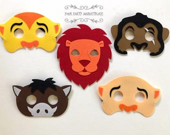 SET OF 5 Lion King Party Masks, Lion King Party,Lion Masks,Lion King Party Favors,Lion King Birthday,Lion King Birthday, Lion King Party