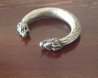 Chinese or Tibetan Silver and Alloy Dragon Head Cuff Bracelet