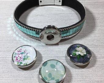 Aqua Metallic Snap Bracelet Set with 3 Snap Charms. FREE SHIPPING!