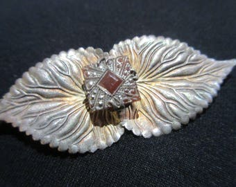 Antique Vintage Art Deco Silver Marcastite Brooch with Gemstone Surrounded with Marcastite Stamped Silver