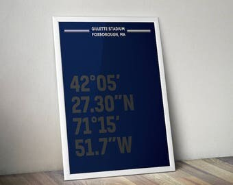 Gillette Stadium Coordinate Print for Man Cave - New England Patriots - Fan Art Poster Typographic Print