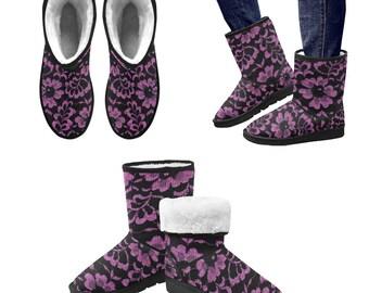 Women's boots with lpurple lace print, snow boots