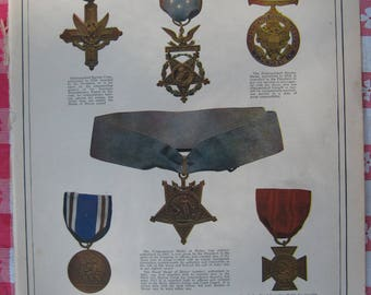 1920–United States Medals For Valor- from Leslie's Photographic Review of The Great War (WW I), Vintage, Rare Account of World War I