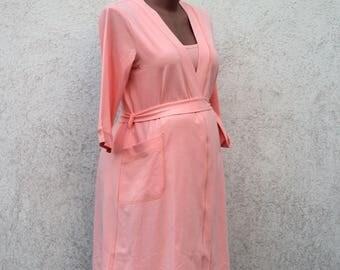 Peach maternity cotton robe, pregnant robe. Hospital robe, hospital gown.