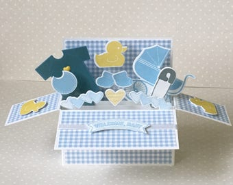 New baby boy pop up greetings card / Handmade
