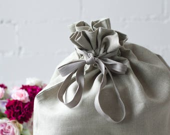 Linen laundry bag - canvas laundry bag - hanging hamper - clothes hamper