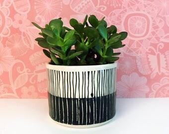 SALE: Multi Black and White Striped Planter-medium