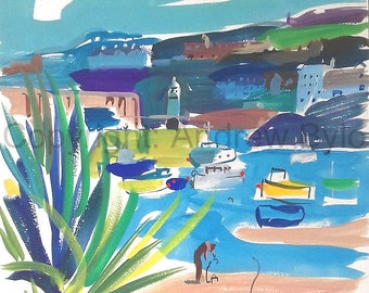 St Ives harbour with boats