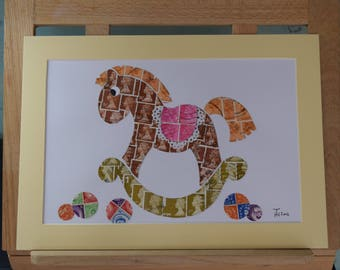 Rockin' Revenue - Recycled Postage Stamp Art Rocking Horse