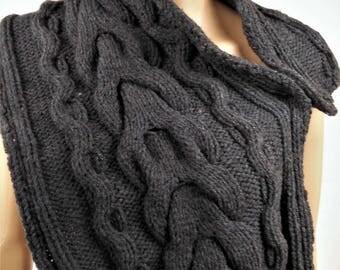 women scarf, wool scarf, gray scarf, scarf, winter, warm scarf, knit scarf, hand knitted scarf