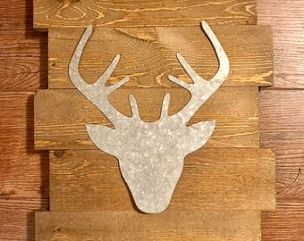 Galvanized Deer Head Sign