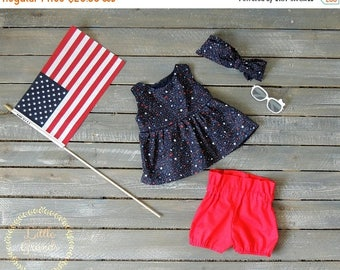 20 PERCENT OFF 12-18 Months Fourth of July Blue and Red Peplum Shirt and Shorts Set