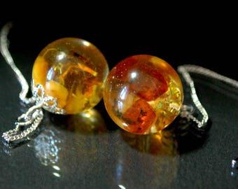 Baltic amber earrings,Dangle Earrings,resin jewelry,real amber,Adjust length earring,Moss earrings,terrarium earrings,sphere earrings
