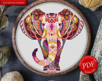 Mandala Elephant Cross Stitch Pattern for Instant Download - 111 | Lovely Cross Stitch| Room Decor| Needlecraft Pattern| Easy Cross Stitch