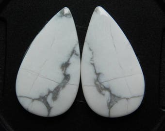 Pair ! A+++ quality Howlite gemstone Cabochons looking Excellent Quality Natural handmade Gemstone Top quality 29.75cts (27x15x4)mm.