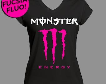 Monster Energy T-shirt T-shirts Fluorescent Pink Women's Short Sleeve