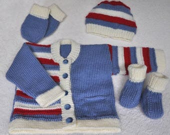 Baby or toddler's hand knitted striped cardigan/jacket. Baby knits, baby clothes, sweater