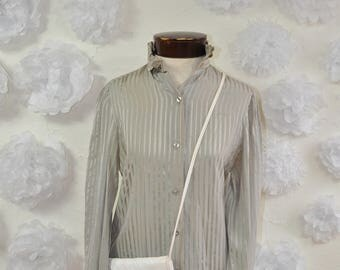 The Jaya: 70s Vintage Silver and Gray Silk Striped High Neck Button Up