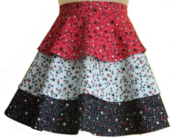 Red, White, and dark blue flounce apron
