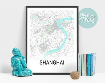 Shanghai Shaded City Map Print | Shanghai China Map | Shanghai Art