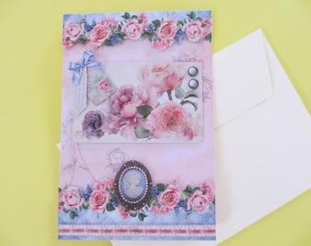 Vintage pink roses 3D card