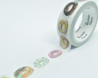 Washi Tape gourmet doughnuts pattern detailed multicolor 7Mx15mm