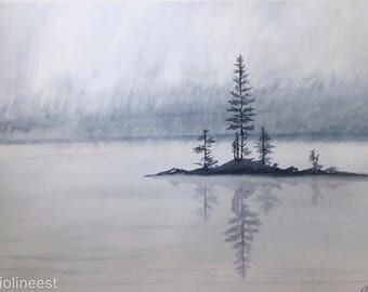 Original Watercolor Paining - Pine Trees, Fog and Lake