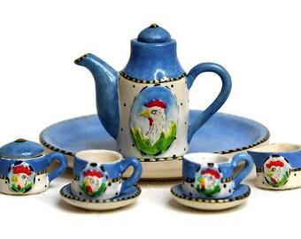 Dollhouse Miniature Matte Porcelain, Hand-Painted Tea Set, Miniature Fairy Garden Accessories, Chicken Rooster Design, Jewelry Making