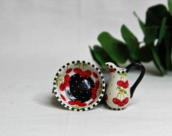 Dollhouse Miniature Pitcher and Bowl, Semi Matte Finish Porcelain, Hand Painted with Cherry Design, Gold Trim, Vintage Style