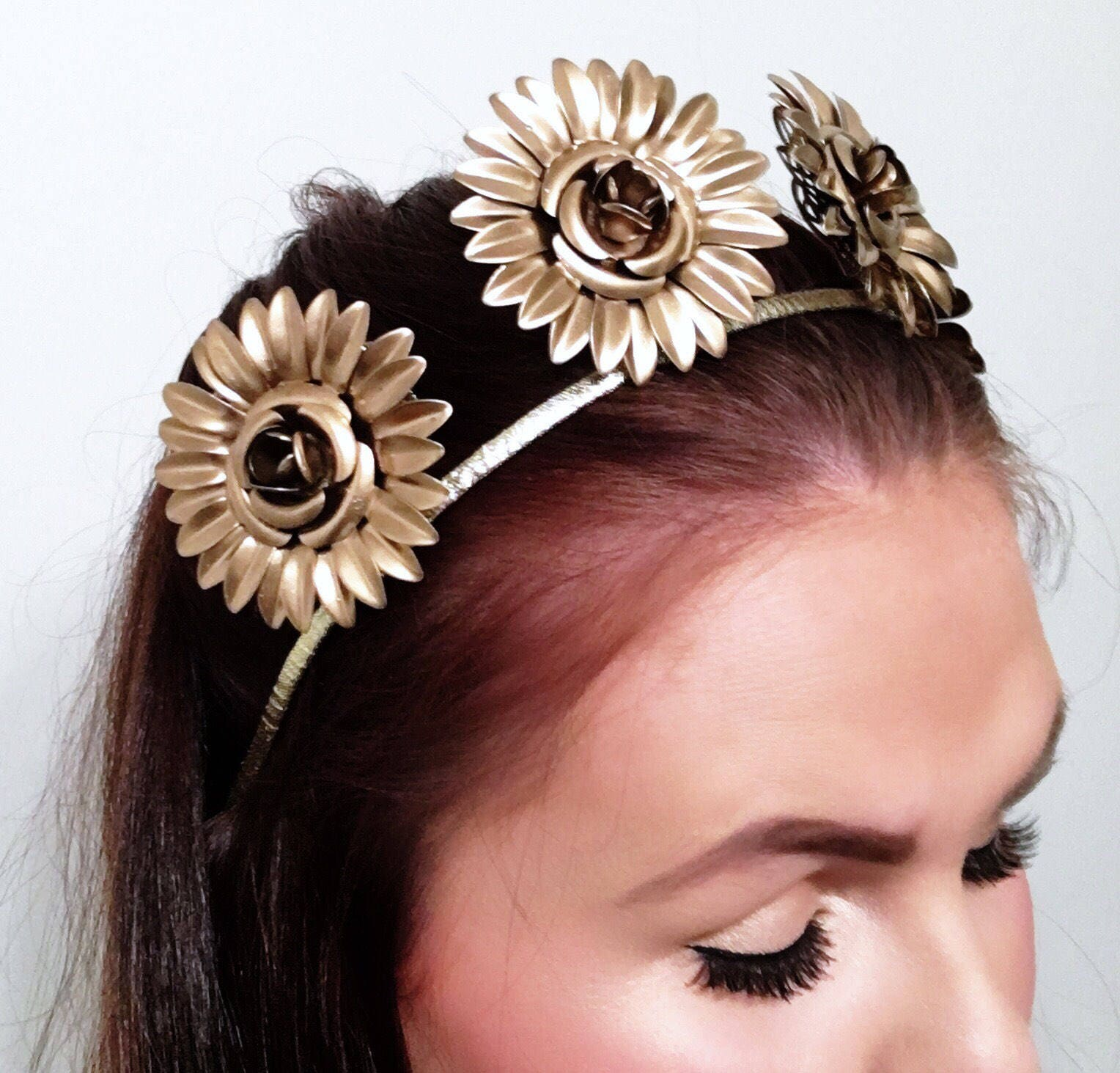 Gold crown flower crown floral crown metal crown gold headpiece gold crown flower crown floral crown metal crown gold headpiece headpiece izmirmasajfo