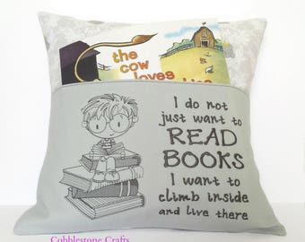 Boy Booksitter Reading Pocket Pillow with Koala Fabric - Reading Pillow, Pocket Pillow, Reading Gift, Babyshower Gift, Birthday Gift