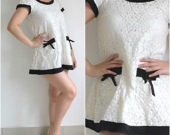 Lace dress, Cute short dress, Japan  vintage Dress, dress with pockets, a line dress, babydoll dress, M size