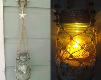 Hanging Beach Lantern with Vintage (1923-1933) Pint-Sized Blue Ball Mason Jar. Nautical Decor & Wedding Decor.
