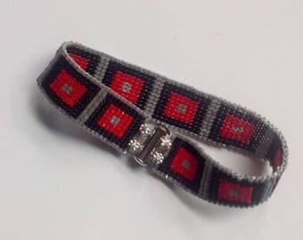 Beads Bracelet black, red, silver