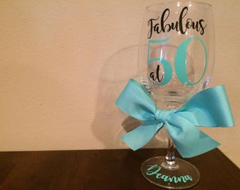 50th Birthday Wine Glass | | Fabulous at 50 | 50th Birthday Gift For Women | 50th Birthday Gift