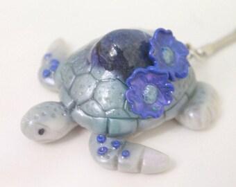 Purple Gemstone Polymer Clay Sea Turtle Key Chain