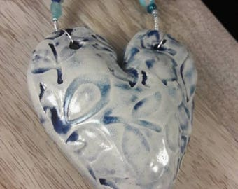 Blue heart - wall hanging - one of a kind