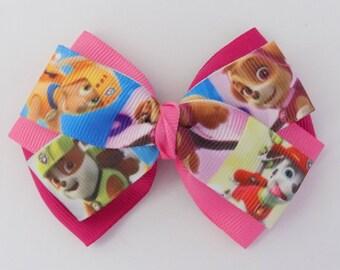 Paw Patrol Hair Bow.  Character ribbon, Girls hair bow, Handmade, Toddler hair bow, Birthday gift, Party favor