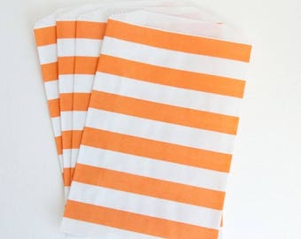 Striped Party Treat Bags - Orange