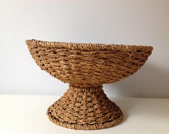 Rattan bowl/ vintage/retro/fruit/bowl