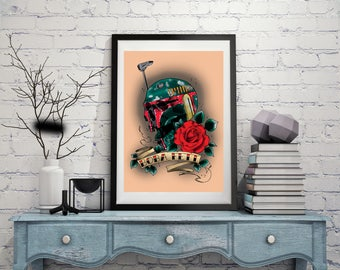 Boba Fett Skull Tattoo Print