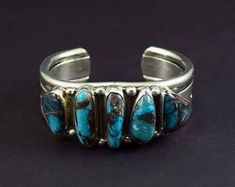 Vintage Native American Indian Sterling Silver Turquoise Cuff Bracelet