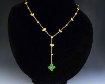 Stunning 24k Gold Jadeite Jade Quatrefoil Necklace
