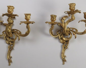 Early 1900's French Rococo Style Gold Wash Bronze Electrified Wall Sconces (2)