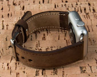Apple Watch Band, Apple Watch 38mm, Apple Watch 42mm, Apple Watch Leather Band, Apple Watch 3, Apple Watch Strap, iWatch Strap-ANTIC BROWN