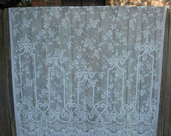 Vintage White Lace Curtain Panel, Shabby Chic, Cottage Chic