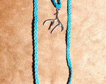 Turquoise braided leather antler necklaces