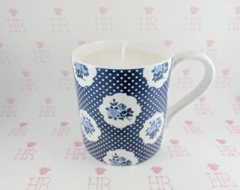 Yves St. Laurent, Black Opium Candle in a Blue, Floral Patterned Mug