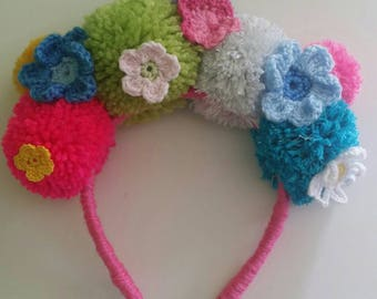 Carnival pom pom flower crown girls headband hair accessories crochet flowers
