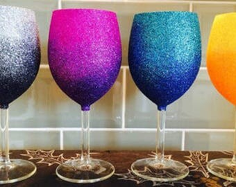 2-Tone Hand Glittered Wine Glass